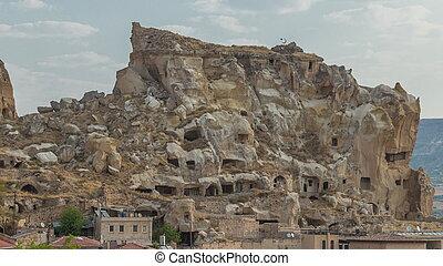 Urgup Town aerial view from Temenni Hill in Cappadocia Region of Turkey timelapse