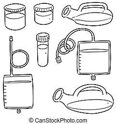 urina, vettore, contenitore, set, magazzino