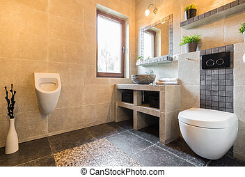 Urinal in modern toilet - Horizontal view of urinal in ...
