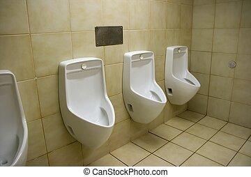Urinals in a public toilette