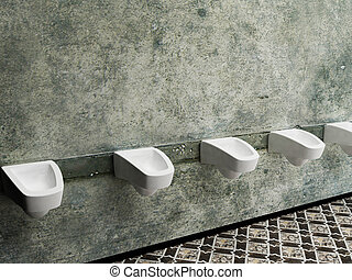urinals in a row, public toilet, rendering