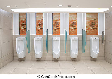 Urinals men on wall public toilet.