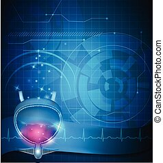 Urinary bladder treatment abstract blue technology ...