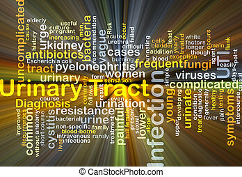 Urinary tract infection UTI background concept glowing