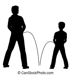 Urinating - Editable vector silhouettes of a man and boy...
