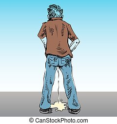 Urinating in Public - An image of a man urinating in public.