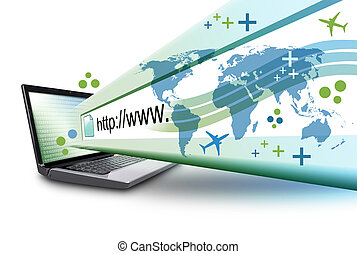 url, elvont, számítógép, laptop, internet