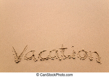 urlaub, in, sand, horizontal