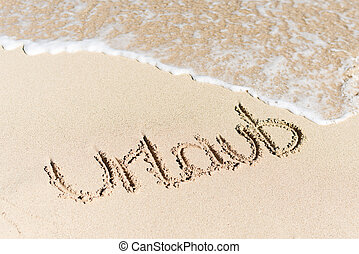 Urlaub Written On Sand By Water Surf - High angle view of...
