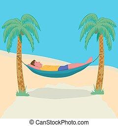 urlop, przywiązany, leniwy, wolność, dłoń, resort., freelance., hamak, człowiek, downshifting, drzewa., tropikalny, leżący