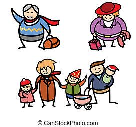 urlop, rodzina, zima