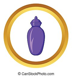 Urn for ashes vector icon in golden circle, cartoon style...