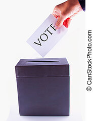 Urn for vote, with male hand posting vote