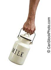 urn, handen, vrijstaand, farmer, witte , melk, pot