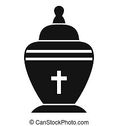 Urn icon, simple style - Urn icon. Simple illustration of ...