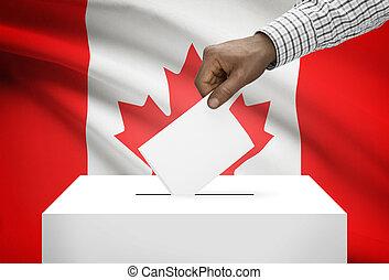 urna electoral, con, bandera nacional, fondo, -, canadá