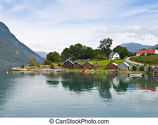 Urnes harbour in the Sognefjord, Norway