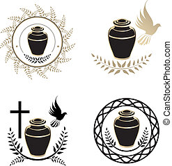 Urns Design Collection Over White Background