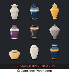 Urns for cremations, vase for cremated body ashes - Set of...