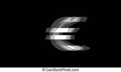URO European Currency icon Vintage Twitched Bad Signal Animation.