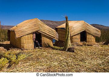 uro, lac, huttes, titicaca, 2, pérou