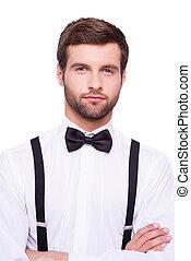 uroczy, handsome., portret, od, zaufany, młody mężczyzna, w, biała koszula, i, motyl, keeping, herb krzyżował, i, aparat fotograficzny przeglądnięcia, znowu, reputacja, odizolowany, na białym