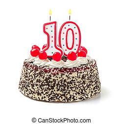 urodzinowy placek, z, płonący, świeca, liczba 10