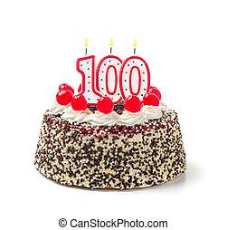 urodzinowy placek, z, płonący, świeca, liczba, 100