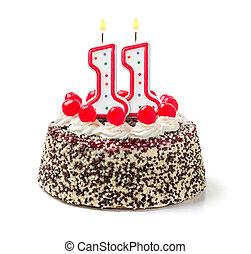 urodzinowy placek, z, płonący, świeca, liczba 11