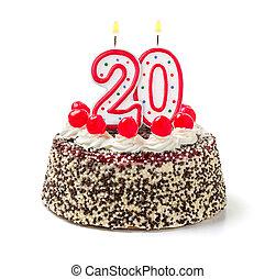 urodzinowy placek, z, płonący, świeca, liczba 20