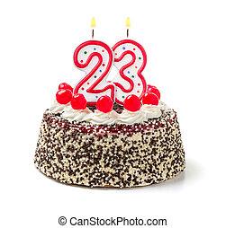 urodzinowy placek, z, płonący, świeca, liczba, 23