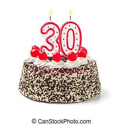 urodzinowy placek, z, płonący, świeca, liczba 30