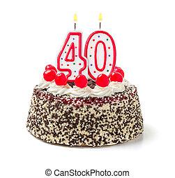 urodzinowy placek, z, płonący, świeca, liczba, 40