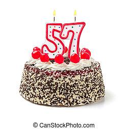 urodzinowy placek, z, płonący, świeca, liczba, 57