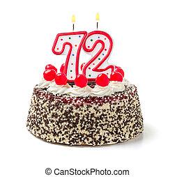 urodzinowy placek, z, płonący, świeca, liczba, 72