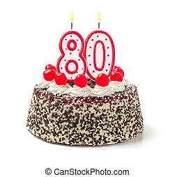 urodzinowy placek, z, płonący, świeca, liczba, 80