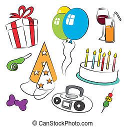 urodziny, barwny, partia