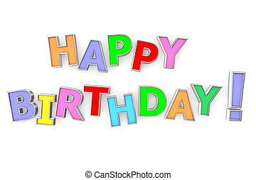 urodziny, barwny, szczęśliwy