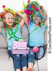 urodziny, dwojaczki, podczas, confetti, ich, interpretacja