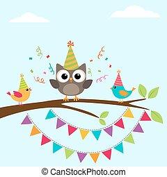 urodziny, ptaszki, karta