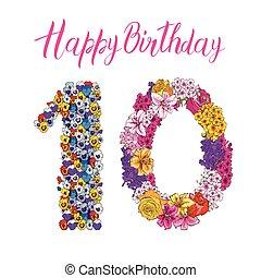 urodziny, różny, robiony, barwny, dziesięć, alfabet, cyfra, ilustracja, element, flowers., wektor, kwiatowy, inscription., szczęśliwy
