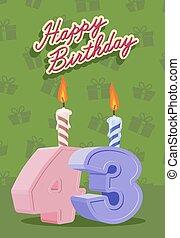 urodziny, rok, 43, karta, szczęśliwy