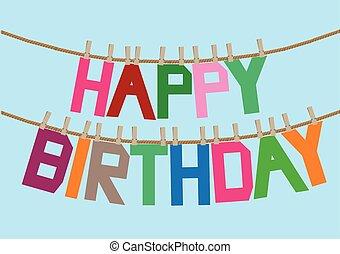 urodziny, wiadomość, na, przedimek określony przed rzeczownikami, clothesline