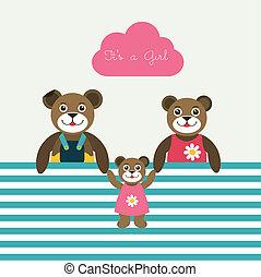 urodzony, card., papier, niemowlę, nowy