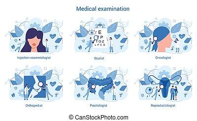 urologist, terapeut, examen, specialitet, set., medicinsk