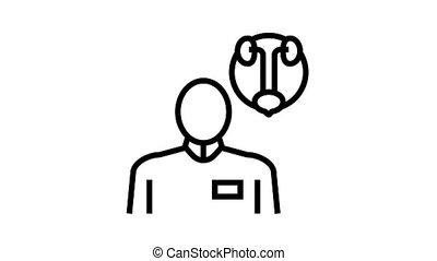 urology medical specialist animated black icon. urology medical specialist sign. isolated on white background