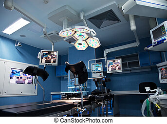 urology surgery room with lights  and monitors on