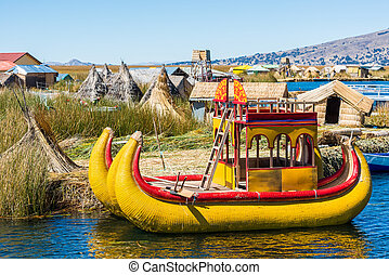 Uros floating Islands peruvian Andes Puno Peru - Uros...