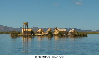 Uros Reed-Floating Home, Lake Titicaca, Peru - Wide low...