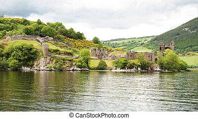 Urquhart Castle at Loch Ness, Scotland - Urquhart Castle...